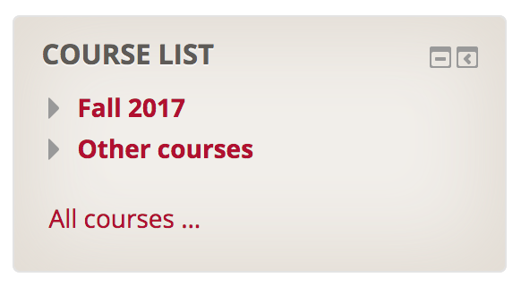 Course List block with categories collapsed