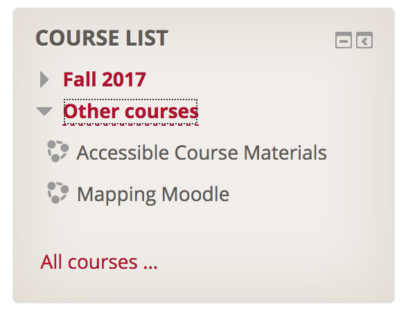 Course List block with one categorie opened to reveal course links