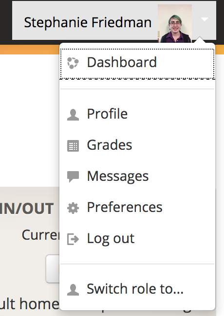 Profile menu with Dashboard selected