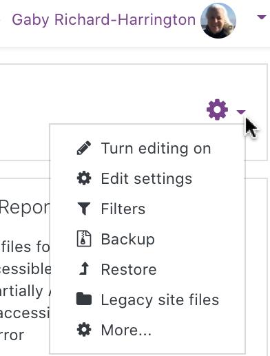 edit gear - edit settings