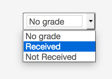grade options in grading interface