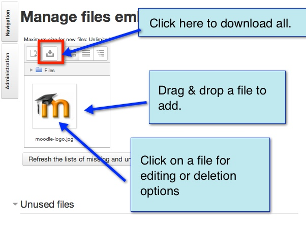 manage files menu