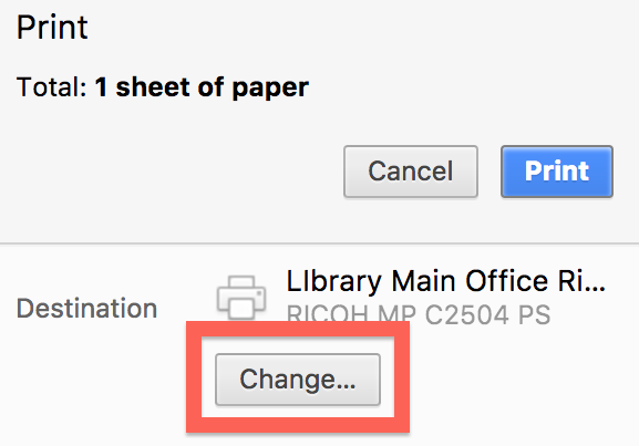 Chrome change printer destination option