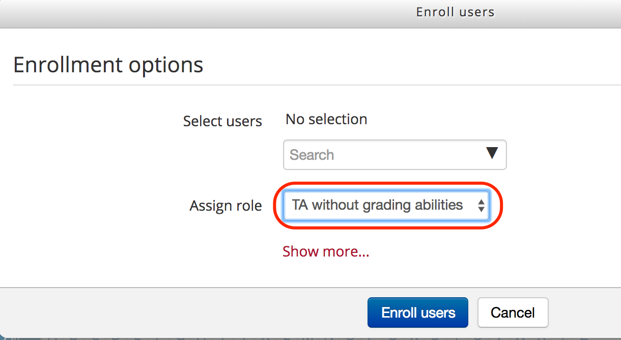 ta selected in enrollment options